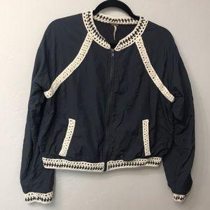 Free people crochet baseball bomber jacket. L